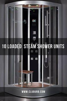 Spa Shower, Luxury Shower, Shower Ideas, Steam Shower Units, Steam Shower Enclosure, Modern Bathroom Accessories, Shower Plumbing, Beautiful Houses Interior, Steam Showers