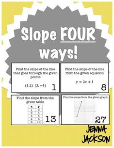 Slope Four Ways! Finding Slope Task Card Activity: These 30 task cards can be used in a multitude of ways. Math Enrichment, Algebra Activities, Maths Algebra, Math Resources, Algebra Projects, Calculus, Math Worksheets, Math Teacher, Math Classroom