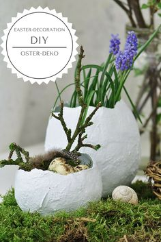 DIY instructions for Easter eggs for planting or filling, Easter decoration, easy table setting, eas Easter Table Settings, Easter Table Decorations, Easter Gift, Happy Easter, Diy Osterschmuck, Decoration Chic, Easter Traditions, Diy Table, Easter Baskets