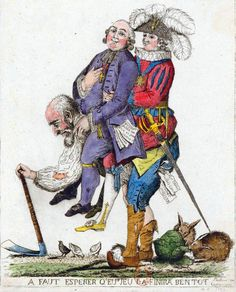 """""""A faut esperer q'eu.s jeu la finira bentot"""" Le Tiers-État portant le Clergé et la Noblesse sur son dos."""