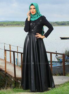 Nakışlı Deri Elbise - Siyah - Mustafa Dikmen
