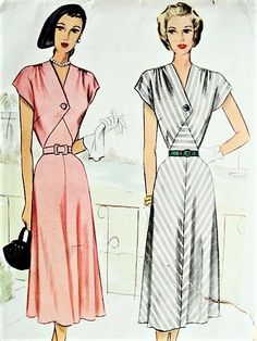 1940s BEAUTIFUL Dress Pattern McCALL 7163 Shirred Shoulders Flattering Surplice Bodice Dress Bust 36 Vintage Sewing Pattern