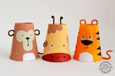 Foam Cup Crafts: Set of 3 Safai Animals {Tiger, Giraffe   Monkey}