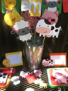 Farm Animal Birthday Package by OneCharmingParty on Etsy Farm Animal Party, Farm Animal Birthday, Farm Birthday, Farm Themed Party, Barnyard Party, Farm Party, Second Birthday Ideas, Birthday Packages, Cowgirl Party