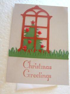 Handmade Window Christmas Card by ChicEventsDecor on Etsy