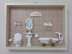 Quadro banheiro Bathroom Hooks, Toilet, Wood Paintings, Boxes, Flush Toilet, Toilets, Toilet Room, Bathrooms