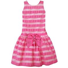 Isobella  Chloe Little Girls Hot Pink Stripe Sunday Best Party Dress 5 * Click on the image for additional details.