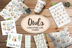 Watercolor Owls: patterns & cards by JuliyaS on @creativemarket