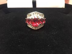 PLATINUM & SS 5 STONE  RUBY WEDDING ANNIVERSARY BAND RING SZ 6 SIZEABLE #EXCEPTIONALBUY #SolitairewithAccents