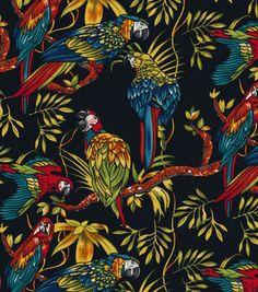 Nicole Miller Twill Fabric-Parrots Black