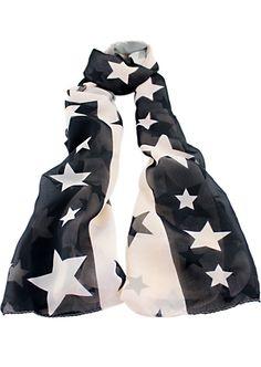 Black White Stars Print Scarves - Sheinside.com