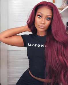 Glossy Rose - 20 Brilliant Rose Gold Hair Color Ideas for 2019 - The Trending Hairstyle Lace Front Wigs, Lace Wigs, Pixie Cut Wig, Red Wigs, Long Bob Haircuts, Natural Hair Styles, Long Hair Styles, Silky Hair, Wigs For Black Women
