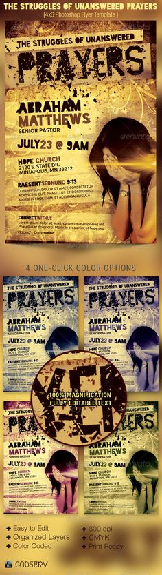 Unanswered Prayers Flyer Template — Photoshop PSD #god #template • Available here → https://graphicriver.net/item/unanswered-prayers-flyer-template/3036837?ref=pxcr