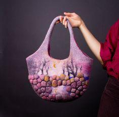 Felted Bag Handbag Purse Felt Nunofelt Nuno felt Silk by Feltsongs, $185.00