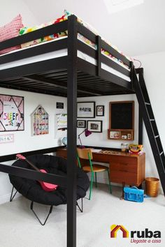 Loft beds are excellent space saving ideas for small rooms. Nothing better than a loft bed makes a small bedroom more spacious, functional and comfortable. Loft beds create extra space by building the bed upward and allowing the space below it to be Bedroom Loft, Dream Bedroom, Kids Bedroom, Bedroom Small, Girl Bedrooms, Master Bedroom, Space Saving Bedroom, Black Bedrooms, Gothic Bedroom