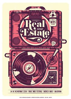 poster for Real Estate at   Music Wins Festival in Buenos Aires, Argentina  designed by Mariano Arcamone