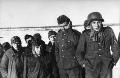 Defence of Moscow.A group of German soldiers captured during the battle of Moscow. Winter 1941 -1942