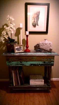 DIY: Repurposed the base of an old aquarium stand and covered with reclaimed planks of wood
