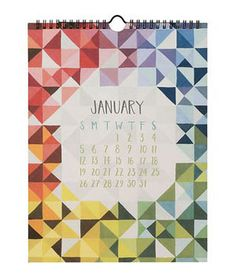 Pieces and Patterns Calendar Hand-painted geometric prints reign on this 12-month wall fixture. The heavy cardstock canvas and bright hues are a surefire way to add interest to the simplest of spaces.  To buy: $25, 1-canoe-2.myshopify.com.