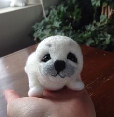 Needle felted Seal baby Harp seal  felted animal white seal miniature  toy Soft sculpture unique gift idea  animal pet toy cute present OOAK