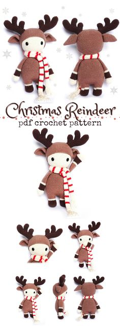 Christmas Reindeer Crochet Pattern. This cute little doll looks like it would work up quickly for a last minute handmade gift. Love this designers simple gorgeous amigurumi patterns! #etsy #ad #crochet #pattern #amiguruimi #deer #santa #winter #holidays #christmas