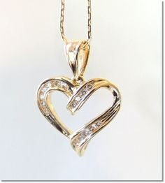 RADIANT 1/2 ct  Diamond HEART Pendant in14K w 14K Italian Chain STUNNING c1980 1/2 off on The Ruby Lane Red Tag Sale !!!! Starts in less than 10 hrs on Saturday 1/11