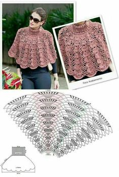 Crochet Shawl Diagram, Crochet Skirt Pattern, Crochet Yoke, Form Crochet, Crochet Woman, Crochet Blouse, Crochet Poncho, Crochet Stitches Patterns, Crochet Shawls And Wraps