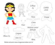 Molde Personagem - Mulher Maravilha - Molde para Feltro - EVA, Molde Personagem - Mulher Maravilha - Molde para Feltro - EVA e Artesanato
