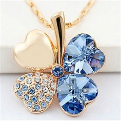 Four Leaf Clover Pendants Heart Crystal Necklaces from Swarovski Elements Gold Plated Vintage Fashion Jewelry For Women //Price: $20.49 & FREE Shipping //     #shopping #istylemyway