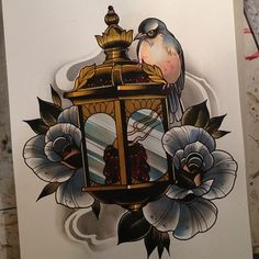 bird flower candle lantern tattoo. i really like this it would incorporate itself into the theme i already have going.