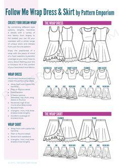 Ladies Wrap Dress & Skirt PDF Sewing Pattern – PATTERN EMPORIUM Knit Dress, Dress Skirt, Wrap Dress, Apron Dress, Pdf Sewing Patterns, Dress Patterns, Apron Patterns, Clothing Patterns, The Embrace