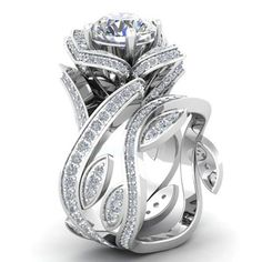 Fashion 925 Silver Lotus Flower White Topaz Ring Set Wedding Engagement Jewelry