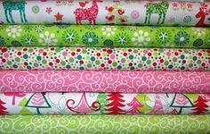6 Fat Quarters FUNKY CHRISTMAS Santa Yule by spiceberrycottage, $16.95