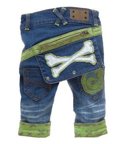 Another great find on #zulily! Blue & Green Bones Flash Jeans - Infant, Toddler & Boys #zulilyfinds