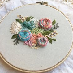 Hand Embroidered Roses, Succulents & Flowers in Hoop, Embroidered Flowers, Original Pattern Brazilian Embroidery Stitches, Hand Embroidery Stitches, Crewel Embroidery, Ribbon Embroidery, Cross Stitch Embroidery, Japanese Embroidery, Floral Embroidery Patterns, Hand Embroidery Designs, Art Patterns