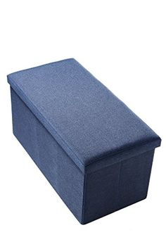 Linen Storage Folding Wooden Rectangular Ottoman Blue * Check this awesome product by going to the link at the image.Note:It is affiliate link to Amazon.