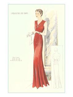Haute Couture Evening Gown Gicléedruk, ca. 1930 (Poster)