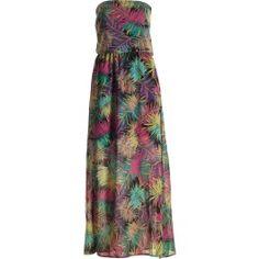 robe bustier, longue, imprimé palmiers multi couleur, bretelles amovibles, taille élastiquée et fente bas de jambes