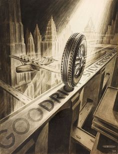 Great Art Deco ad for Goodrich Silvertown Tires, 1935.