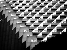 I am not sure what this is, but it sees to be a shot of the balconies on some huge apartment building. Interesting graphically, but seems a little cold as a dwelling.