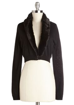 Posh Promises Cardigan. Trim your look in luxury by layering on this faux-fur-collared cardigan! #black #modcloth
