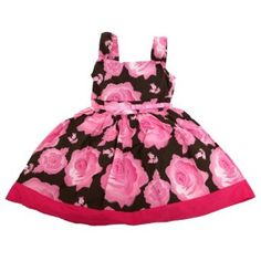Girls Flower Pattern Summer Wear Special Occasion Dress with Bow (6 year old) (Pink/Brown)