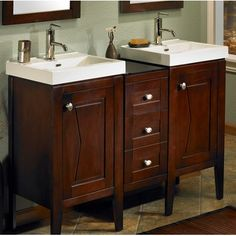 Fairmont Designs Bowtie Modular Modern Bathroom Vanity Combo with Sinks and Mirrors in Espresso Cheap Bathroom Vanities, Bathroom Mixer Taps, Cheap Bathrooms, Single Bathroom Vanity, Modern Bathroom, Bathroom Ideas, Fairmont Designs, Modern Vanity, Traditional Bathroom