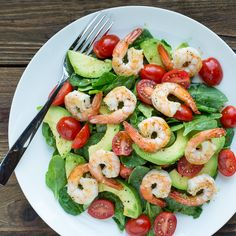 Spinach, Shrimp & Avocado Salad with Zesty Lemon Vinaigrette via @mealime - a quick and healthy recipe for one or two. Low carb, keto, paleo/primal, pescetarian, dairy free, gluten free, peanut free, and tree nut free. #mealplanning