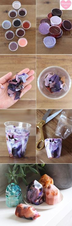 DIY Gemstone Soap Kit Begin by cutting each of your cleanser bases into equal parts. Hold the unmistakable and obscure parts for your second gemstone cleanser the pack will permit you to make at le…