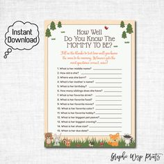 Woodland Baby Shower Printable How Well Do You Know The Mommy To Be Game,  Who