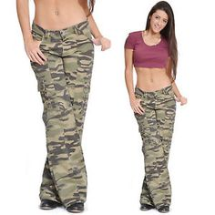 Camo Cargo Pants for Women | Womens Army Military Camouflage Cargo Combat Pants Boyfriend Jeans ...