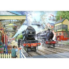 Jigsaw Puzzles Direct - A huge range of jigsaws, jigsaw puzzles, mind puzzles and accessories for all ages that you can buy online. Mind Puzzles, Jigsaw Puzzles, Flying Scotsman, Cartoon House, Train Art, Cartoon Art Styles, Steam Locomotive, The Good Old Days, Steam Engine