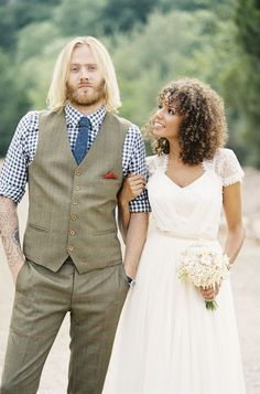 Boho style wedding fashion // gingham shirt + tie for groom, jeweled headband + tulle wedding dress for bride Love this couple's style Interracial Couples, Biracial Couples, Interracial Wedding, Wedding Bells, Boho Wedding, Dream Wedding, Tulle Wedding, Wedding Things, Wedding Bride