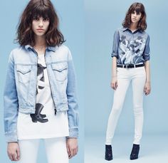 Diesel 2014 Spring Summer Womens Preview Lookbook Collection - Retro Faded Denim Jeans Jacket Metallic Grunge Treatment White Sheer Chiffon ...